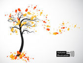 Autumn abstract tree — Stock Vector