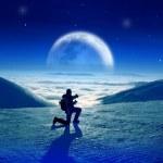 paysage de montagnes avec belle lune d'hiver au-dessus des nuages — Photo
