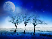 Winter night fairytale scene with moon, stars and snow. Can be used as Christmas or New Year card — Stock Photo