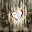 Valentine paper heart on a grunge wood background with floral ornament. Valentine's day card, background, greeting. — Stock Photo #39608705