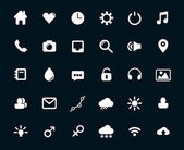 Modern flat icons vector set with long shadow effect in stylish colors of web design objects, business, office and marketing items. Isolated on black background. — Vetorial Stock