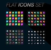 Modern flat icons vector set with long shadow effect in stylish colors of web design objects, business, office and marketing items. Isolated on black background. — Stock Vector