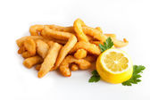 Fried Calamari with Lemon — Stock Photo