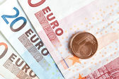 Billetes y monedas de Euro — Stock Photo