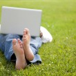 Man lying on the grass looking in the laptop — Stock Photo