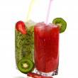 Cocktail of strawberry and kiwi — Stock Photo