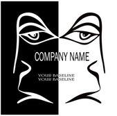 A human face for the company logo — Stock Vector