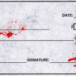 Blood splatter on a patient information form. — Stock Photo