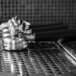 Stock Photo: Portafilter on espresso machine, monotone color background