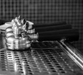 Portafilter on espresso machine, monotone color background — Stock Photo