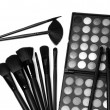 Cosmetic powder and brush boxset, monotone color — Stock Photo