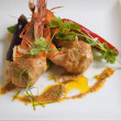 Royalty-Free Stock Photo: Grilled prawn with spicy red curry sauce