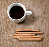 Cinnamon and coffee — 图库照片
