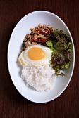 Stir fried Spicy Chicken thai herb — Stock Photo