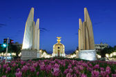 The Democracy Monument at twilight time — Stock Photo