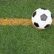 Soccer football field stadium grass line ball background texture — Stock Photo