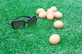 Eggs with sunglass are on the soccer field grass — Stockfoto