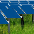 Group of photovoltaic solar panels to produce renewable electrical energy — Stock Photo