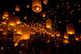 Yi Peng,Firework Festival in Chiangmai Thailand — Stock Photo