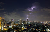 Lightning storm over city — Stock Photo