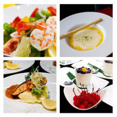 Collage (set) from various kinds of restaurant menu dishes — Stock Photo
