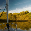 View from a sailboat at sunset — Stock Photo