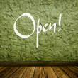 "Stock Photo: Old vintage green wall and wooden floor with word ""Open!"" painted on wall"