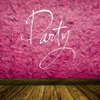 "Stock Photo: Old vintage pink wall and wooden floor with word ""Party"" painted on wall"