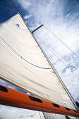 Plachta s oranžovou boom — Stock fotografie
