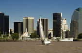 Sailboat over the city landscape - Argentina — Stock Photo