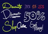 Handwritten text - Discounts — Stock Vector