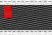 赤いリボンのタグを持つ黒いベクトル ファブリック繊維の背景 — ストックベクタ