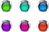 Six glossy buttons in metallic frames. Raster version — Stock Vector