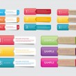 Abstract vector paper tags with colorful pockets - one two three steps - 图库矢量图片