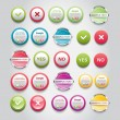 A set of vector round buttons, badges and banners — Stock Vector