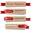 A set of vector promo cardboard paper banners decorated with red ribbon tags — Stock Vector
