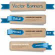A set of vector promo cardboard paper banners decorated with blue ribbon tags — Grafika wektorowa