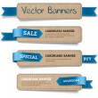 A set of vector promo cardboard paper banners decorated with blue ribbon tags — ストックベクタ