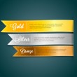 Vector silky ribbon tags collection. Gold, Silver, Bronze — Stock Vector #26487763