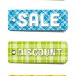 Colorful vector tartan fabric textured badges collection: Special, Sale, Discount, New — Stockvektor
