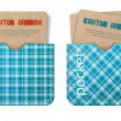 Cards in pockets. Vector banners with cardboard - old paper and blue tartan textures — Stock Vector
