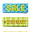 Colorful vector tartan fabric textured badges collection: Special, Sale, Discount, New — Stock Vector
