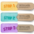 Abstract vector vintage old paper tags with soft fabric pockets, One Two Three steps — Stock Vector