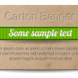 Vector old vintage paper - cardboard banner with two metallic decorated perforations and green ribbon — Stockvektor