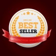 White vector round badge with red ribbon Bestseller' — Stock Vector
