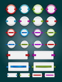 A collection of vector white blank plastic banners - badges with ribbons — Stock Vector