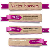 A set of vector promo cardboard paper banners decorated with purple ribbon tags — Stock Vector
