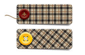 Brown vector tartan fabric textured badges with buttons — Stock Vector