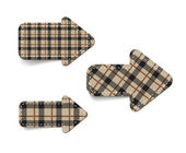 Brown vector tartan fabric textured arrows — Stock Vector