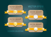 A set of vector horizontal cardboard paper promo banners decorated with yellow ribbons and various buttons - seals — Stock vektor